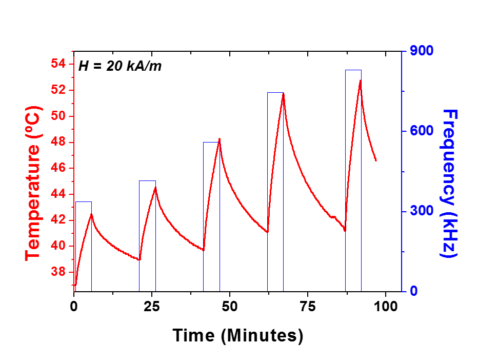 Specific Power Absorption versus strength of magnetic field graph