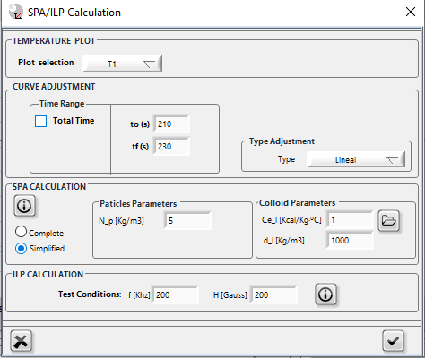 Zar software window for SPA and ILP calculation
