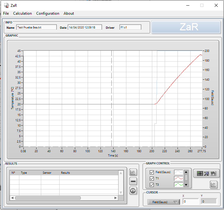 Temperature curve of a magnetic colloid submitted to magnetic heating done with Zar software